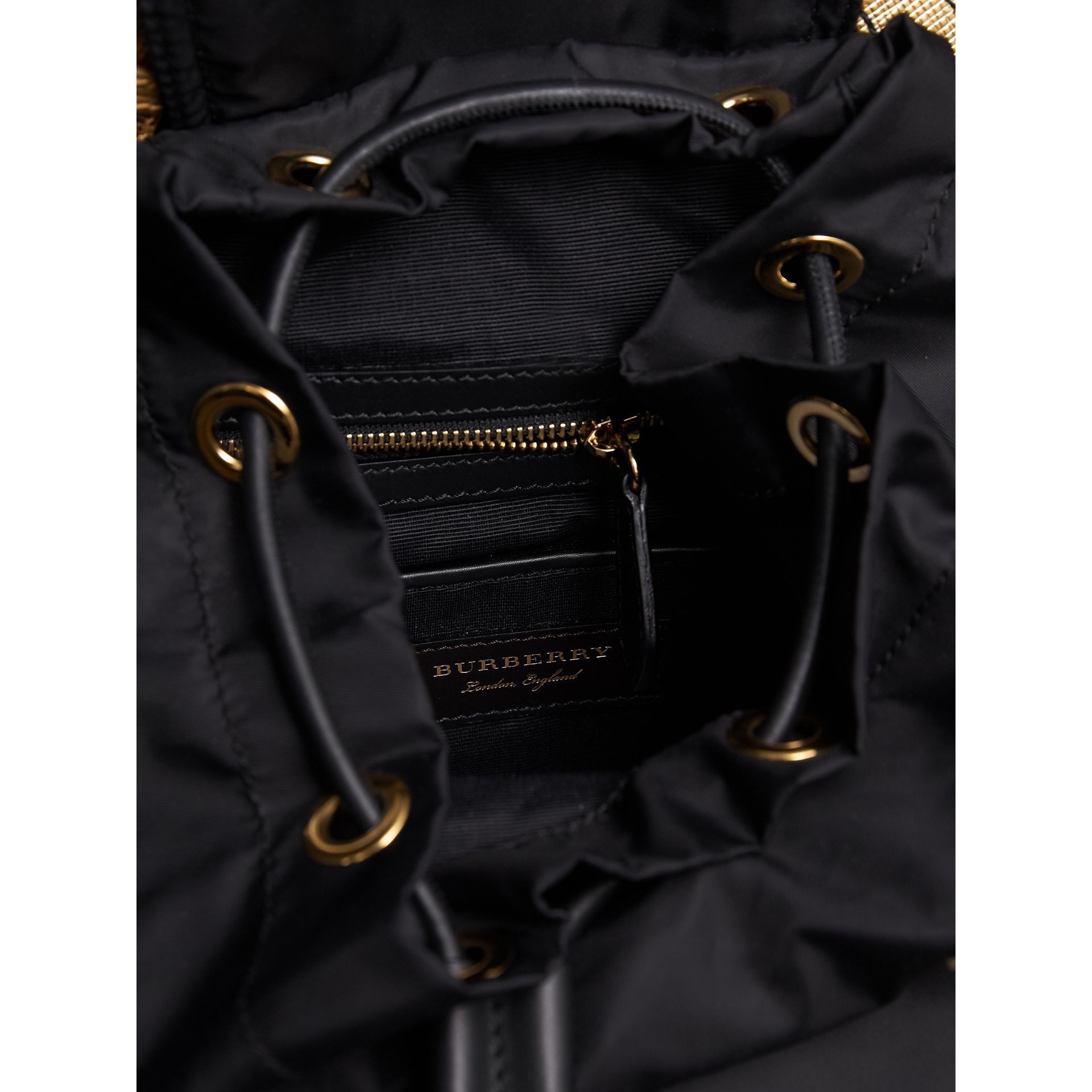 The Medium Rucksack in Two-tone Nylon and Leather in Black/gold - Women | Burberry Canada - gallery image 4