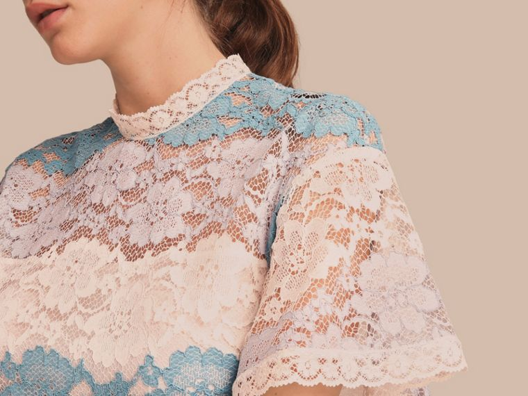 Floral Lace Dress with Flutter Sleeves Slate Blue - cell image 4