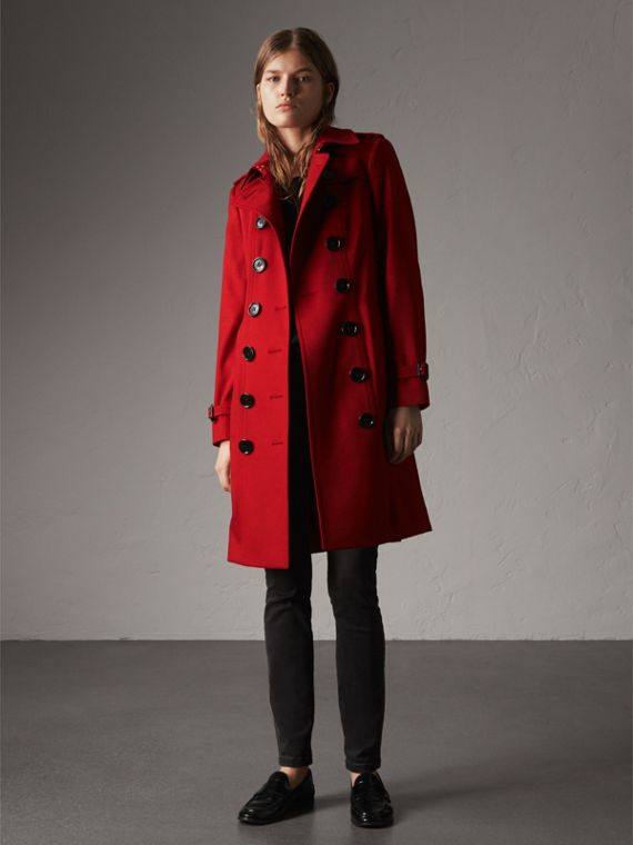 Trench coat Sandringham in cashmere (Rosso Parata) - Donna | Burberry