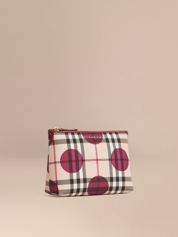 Medium Leather Trim Check and Dot Pouch Dark Plum