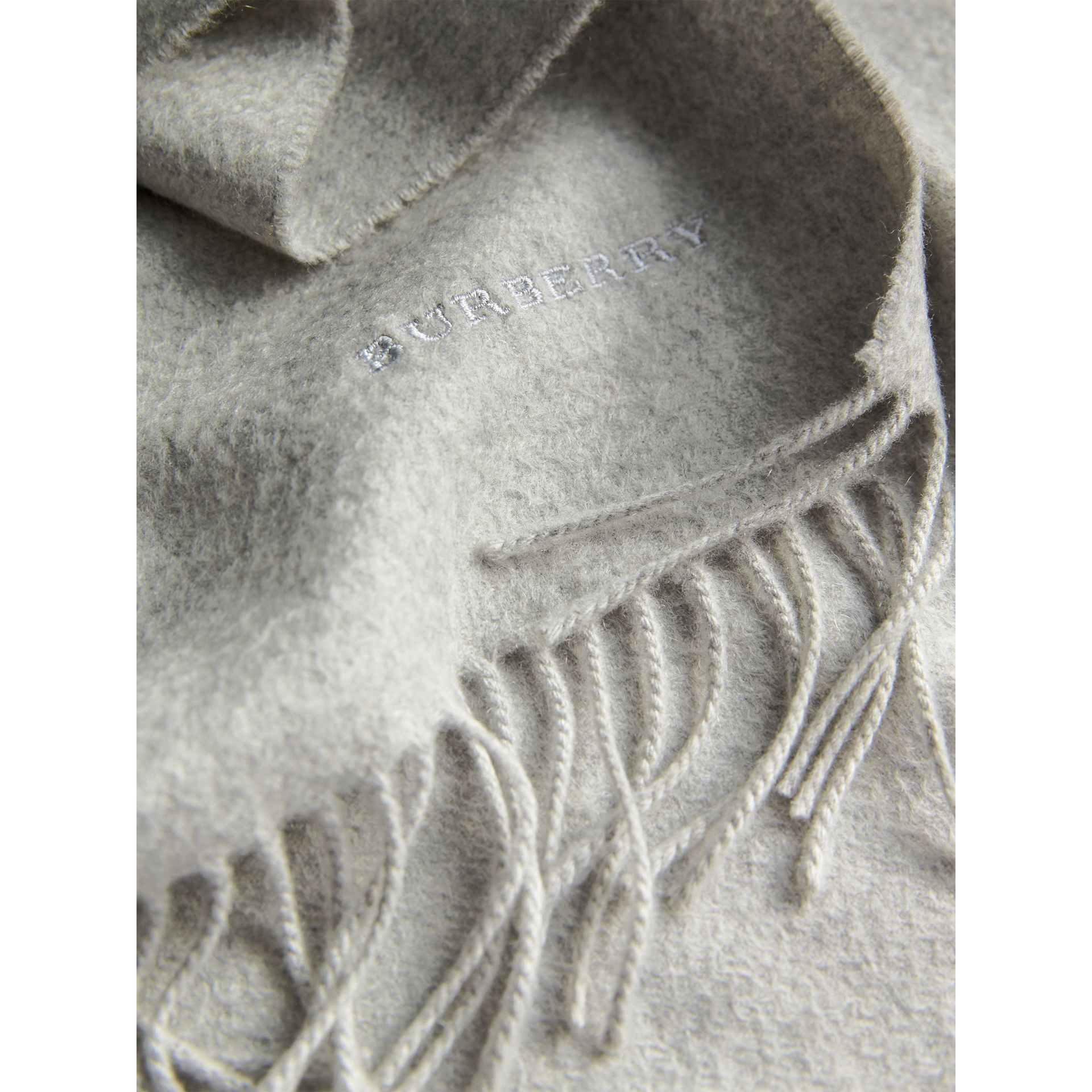 The Classic Cashmere Scarf in Pale Grey | Burberry United Kingdom - gallery image 5
