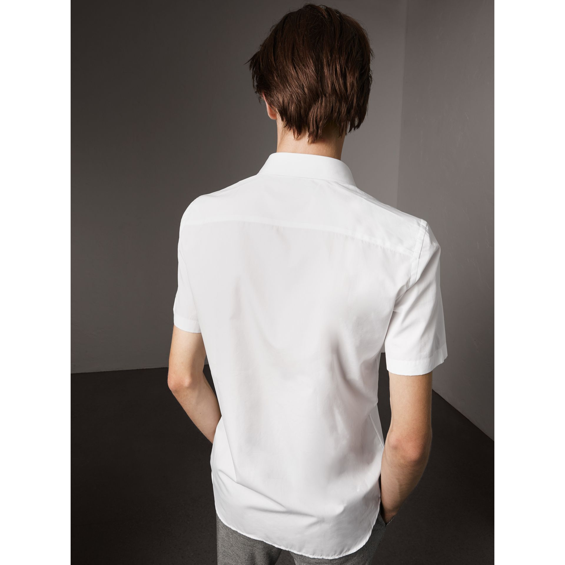Short Sleeve Cotton Poplin Shirt in White - Men | Burberry - gallery image 3