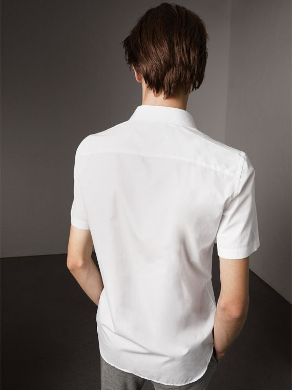 Short Sleeve Cotton Poplin Shirt in White - Men | Burberry - cell image 2