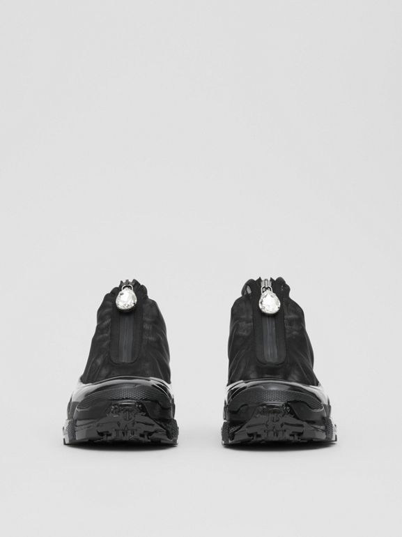 Mesh Detail Nylon and Suede Arthur Sneakers in Black/white - Women | Burberry United Kingdom - cell image 1