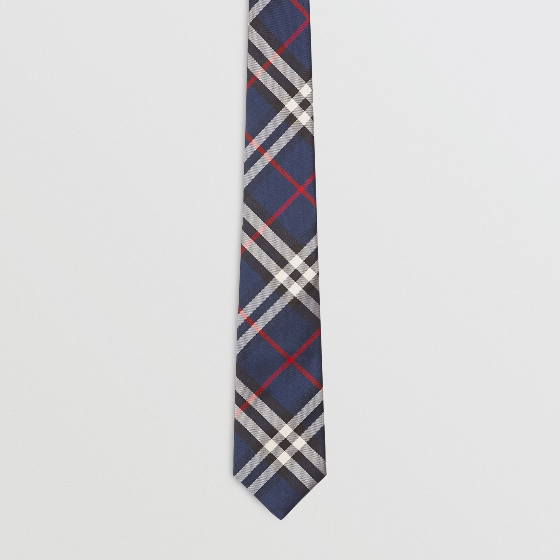 Modern Cut Vintage Check Silk Tie in Navy - Men | Burberry Singapore - gallery image 4