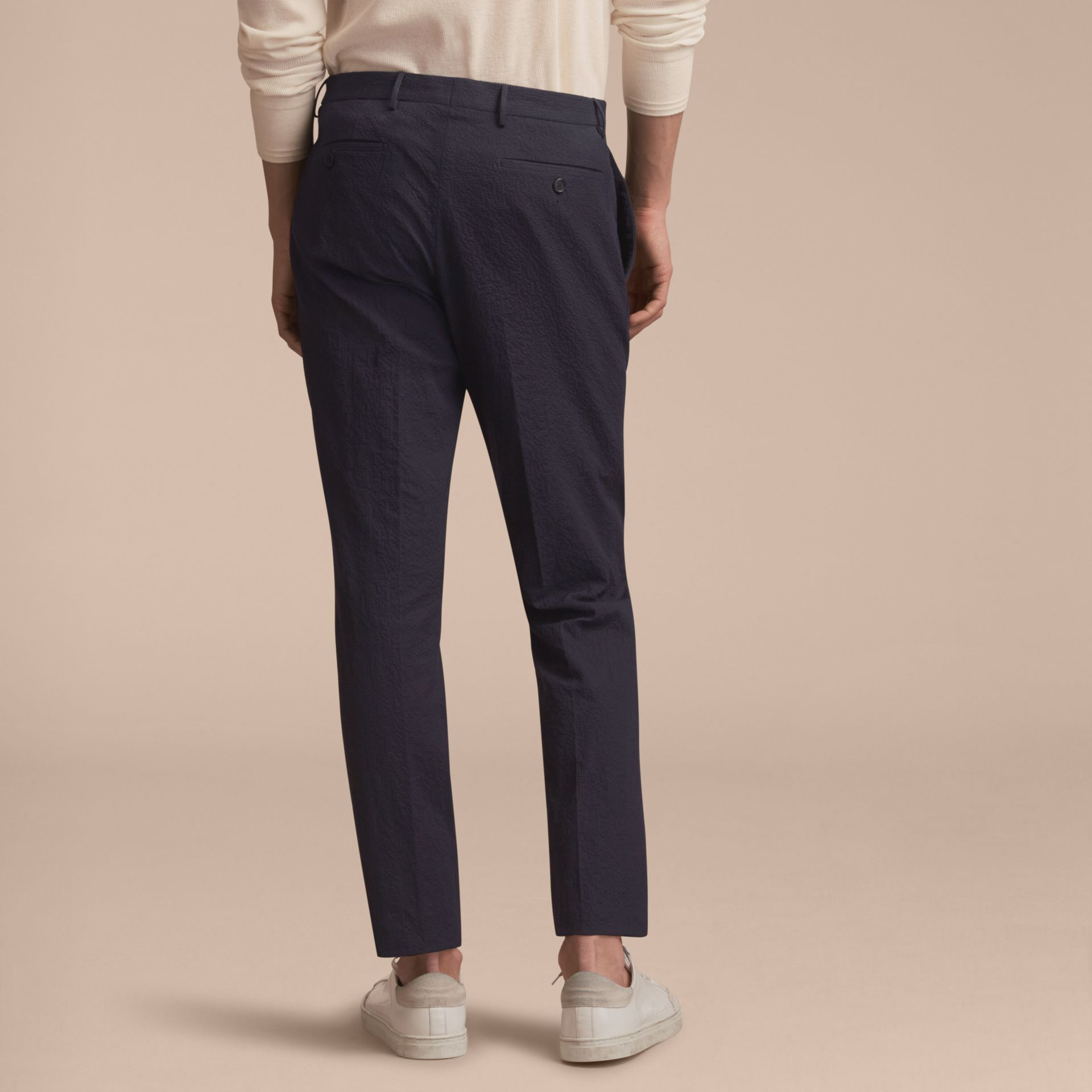 Slim Fit Textured Stretch Cotton Trousers - Men | Burberry - gallery image 3