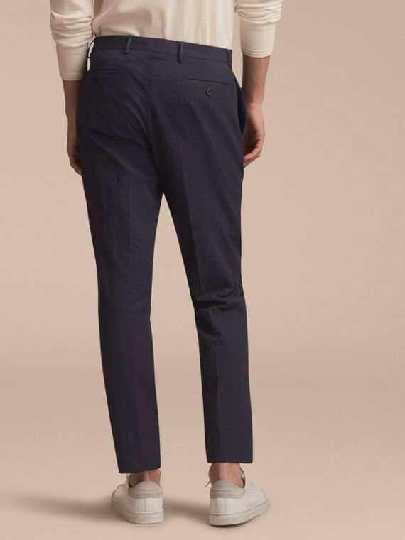 Slim Fit Textured Stretch Cotton Trousers - Men | Burberry - cell image 2