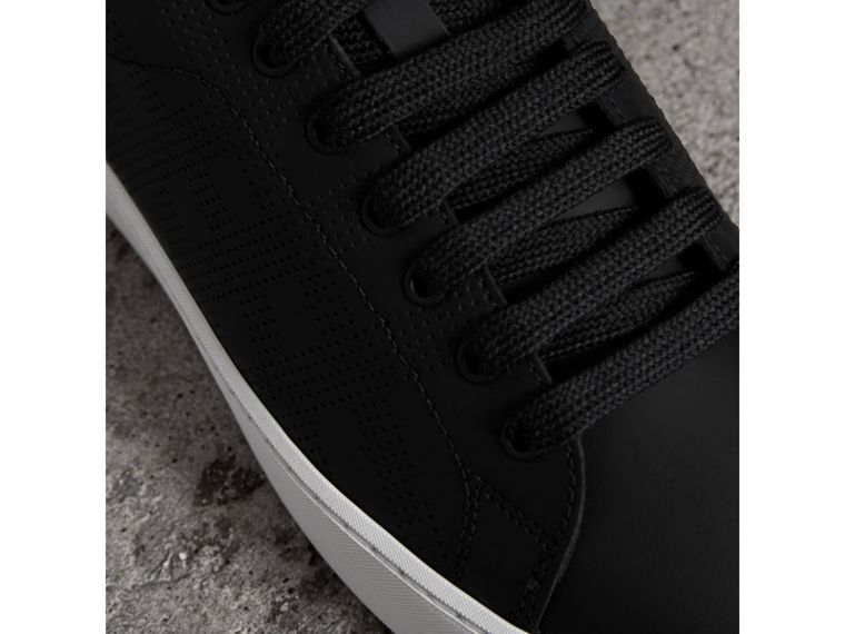 Perforated Check Leather Sneakers in Black - Women | Burberry - cell image 1