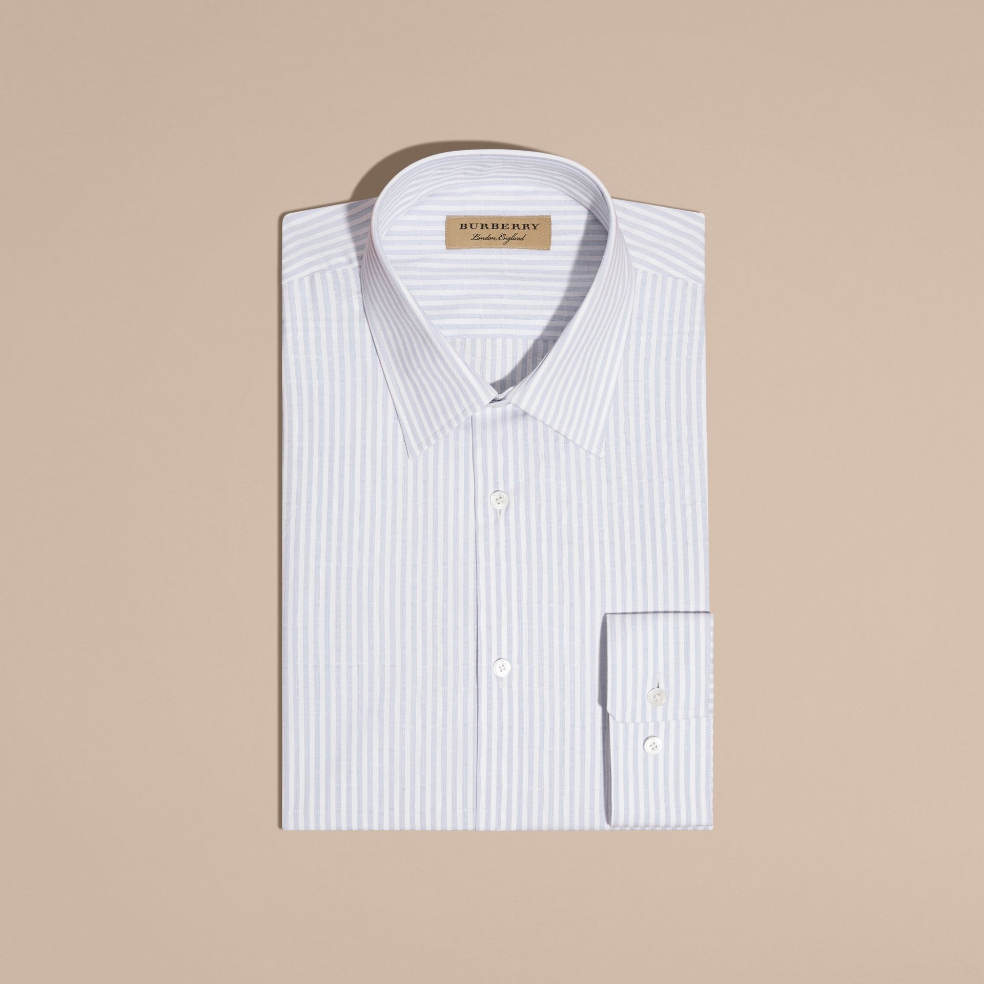 City blue Modern Fit Striped Cotton Shirt City Blue - gallery image 4