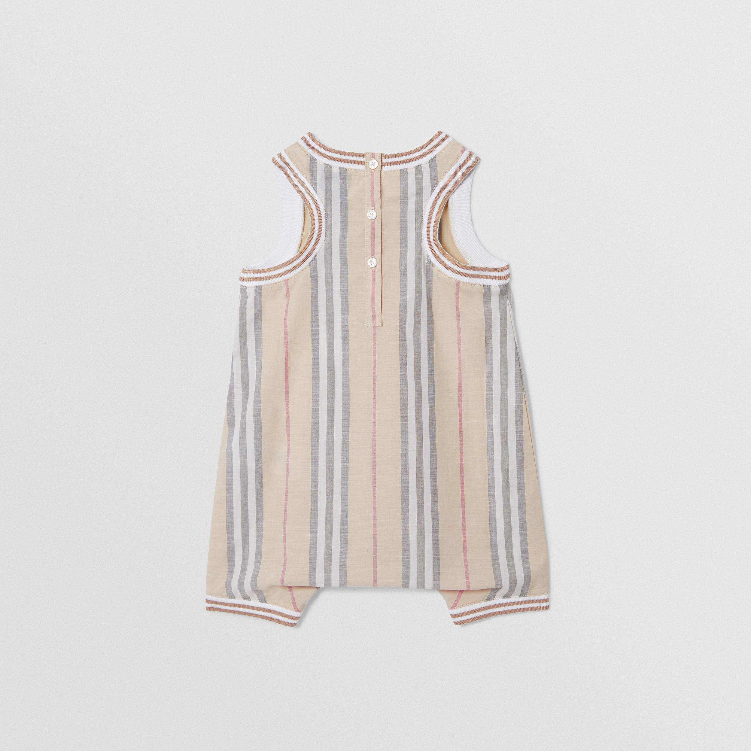 Icon Stripe Cotton Jumpsuit in Pale Stone - Children | Burberry - 4