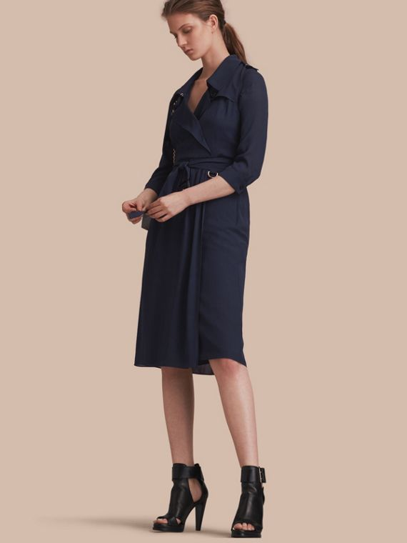 Silk Wrap Trench Dress Navy