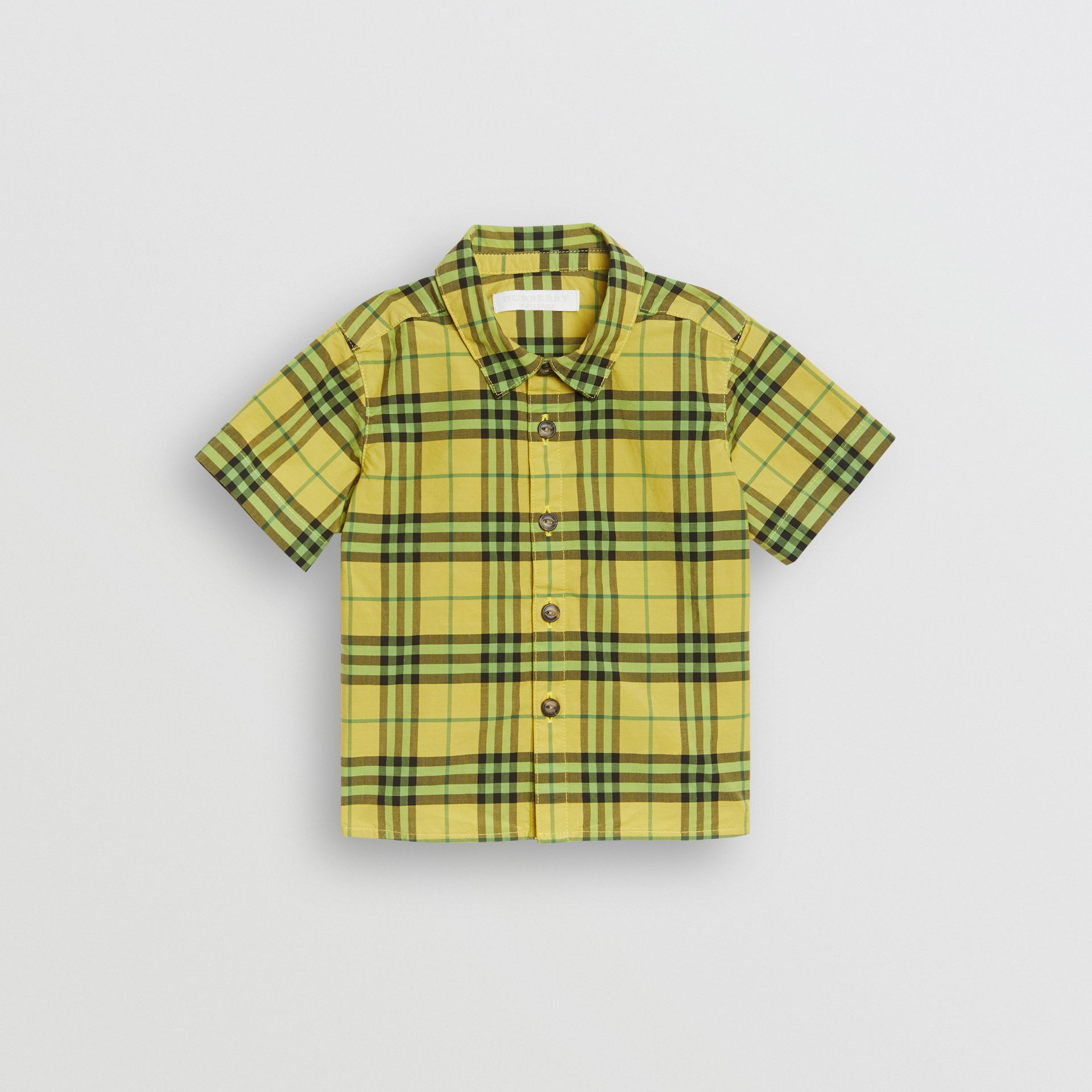 Short-sleeve Check Cotton Shirt in Citron - Children | Burberry United Kingdom - gallery image 0