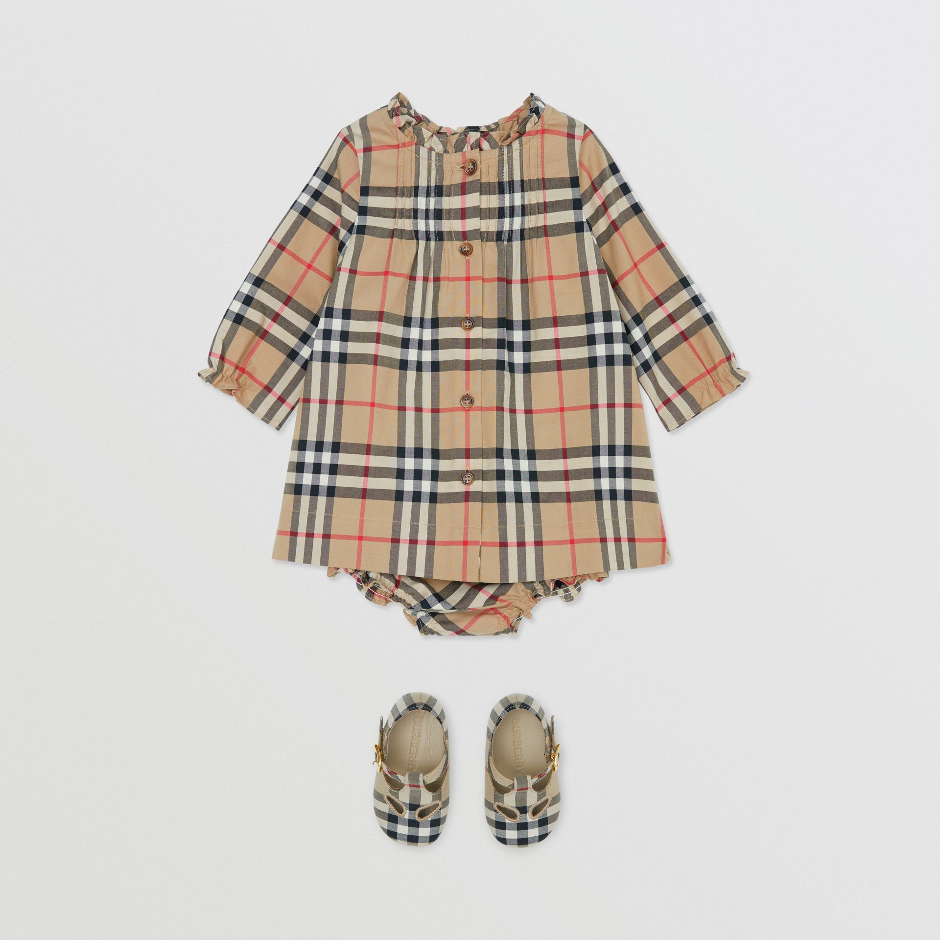 Vintage Check Cotton Dress with Bloomers in Archive Beige - Children   Burberry United Kingdom - gallery image 2