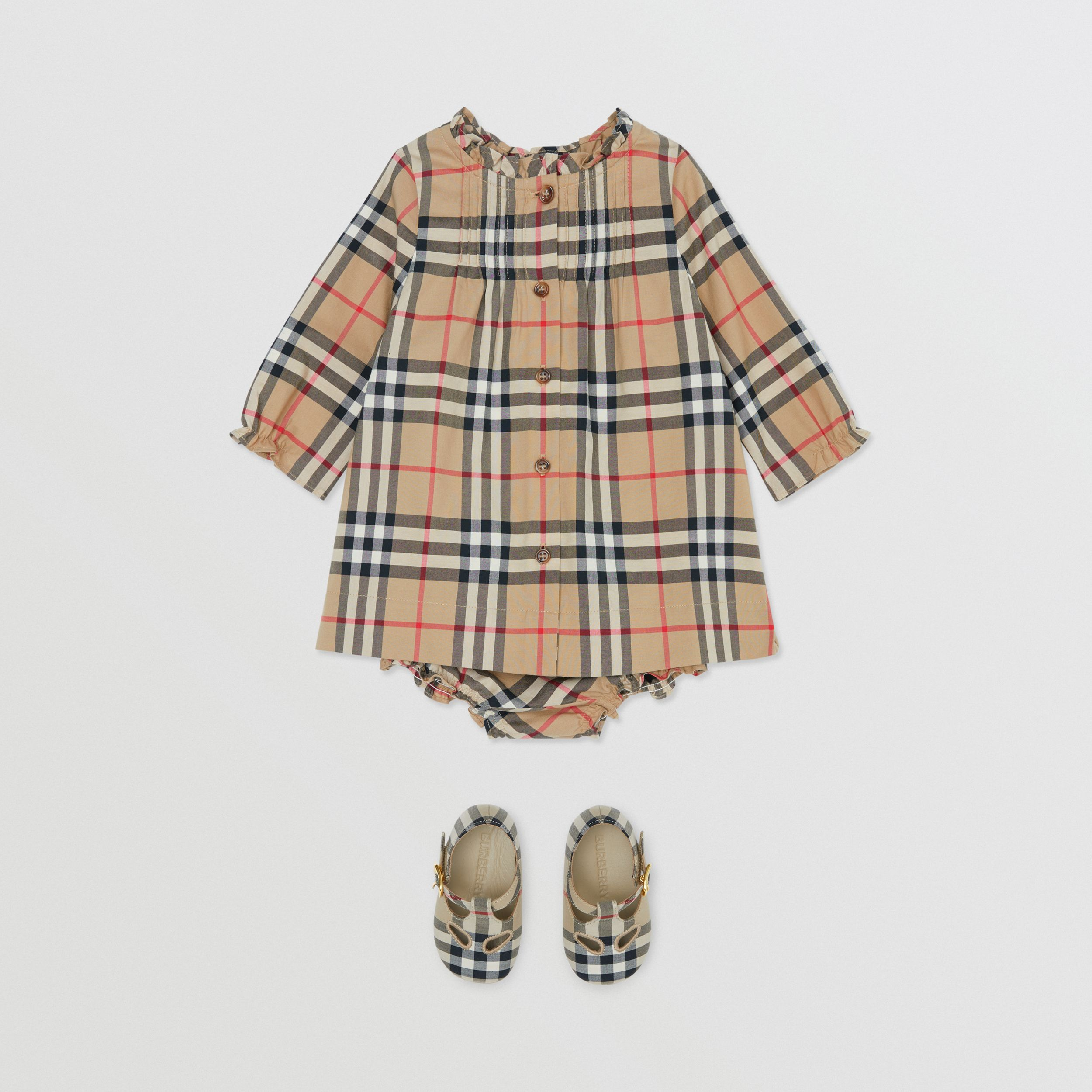 Vintage Check Cotton Dress with Bloomers in Archive Beige - Children | Burberry - 3