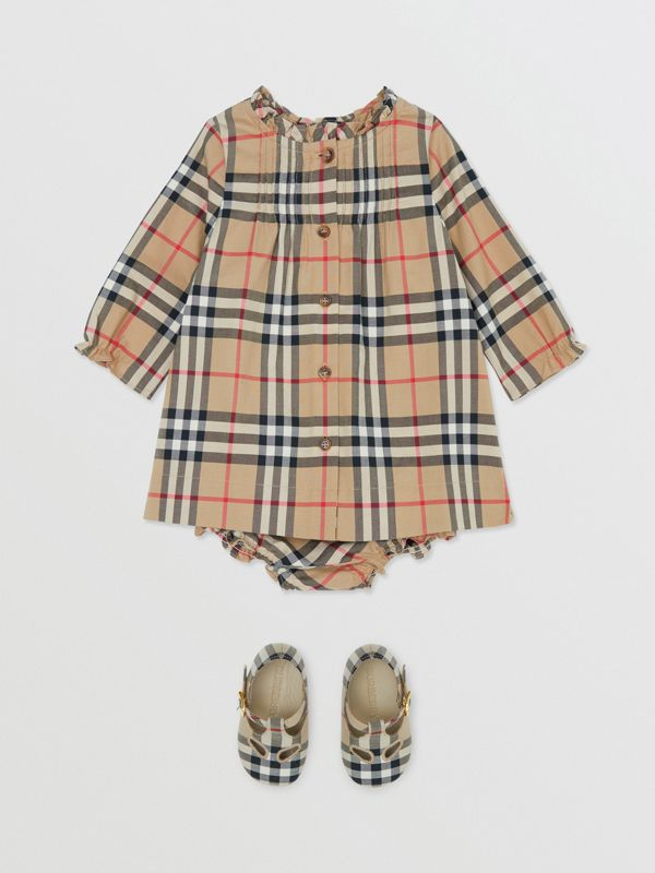 Vintage Check Cotton Dress with Bloomers in Archive Beige - Children   Burberry United Kingdom - cell image 2
