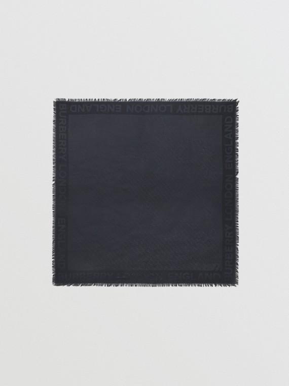 Foulard grande in seta e lana con lavorazione jacquard e monogramma (Navy)
