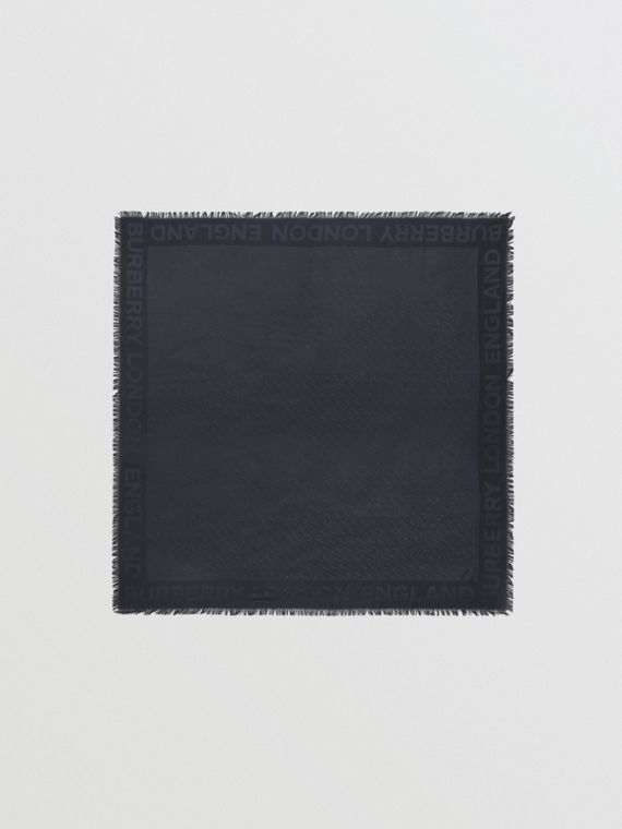 Шарф с монограммой Burberry (Темно-синий)