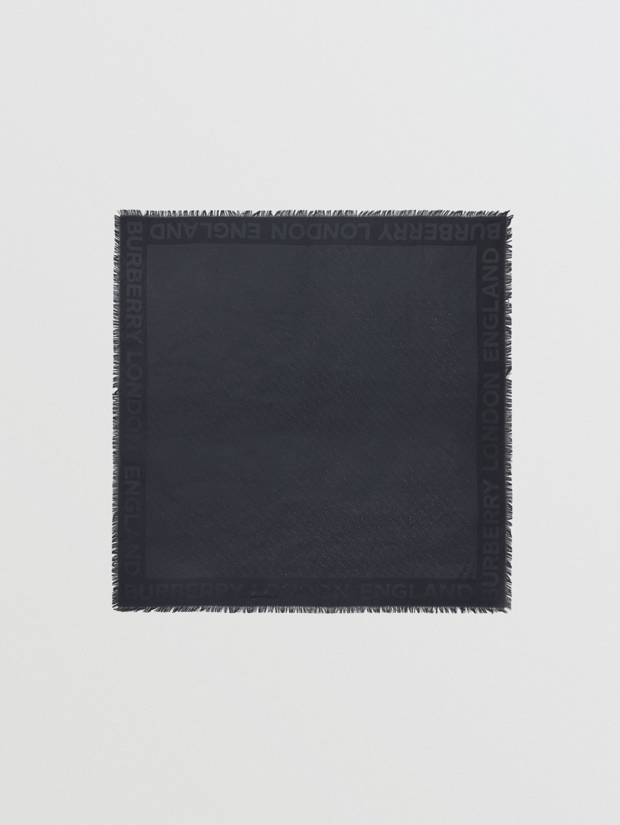 Monogram Silk Wool Jacquard Large Square Scarf in Navy