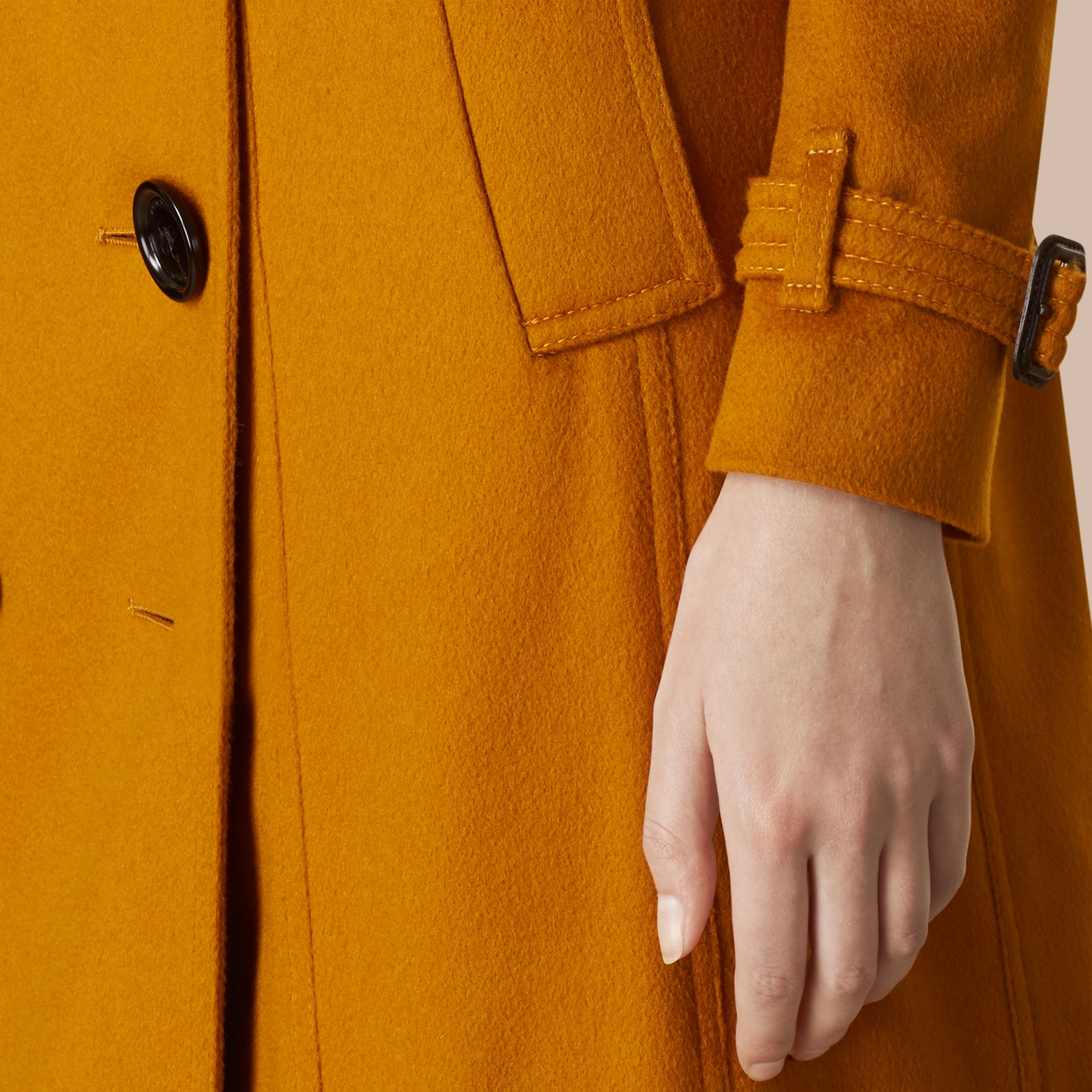 Umber yellow Sandringham Fit Cashmere Trench Coat Umber Yellow - gallery image 5