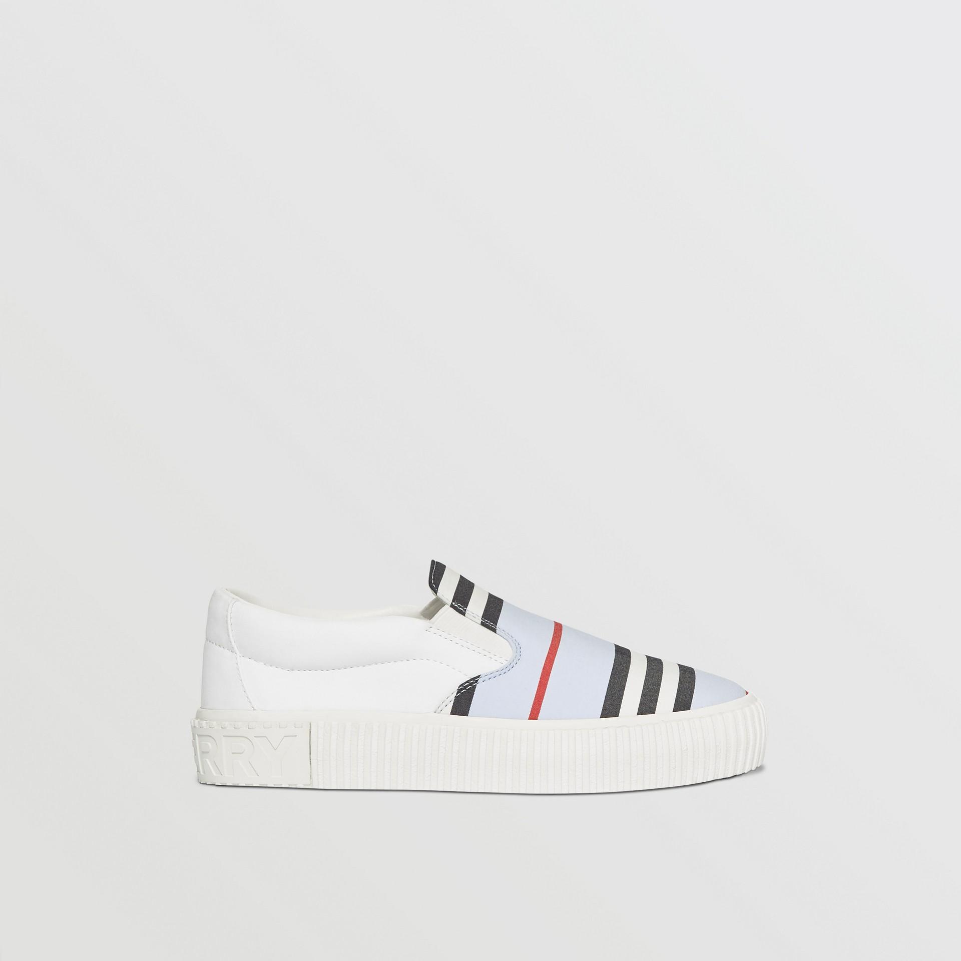 Icon Stripe Cotton Slip-on Sneakers in Pale Blue - Children | Burberry Australia - gallery image 3