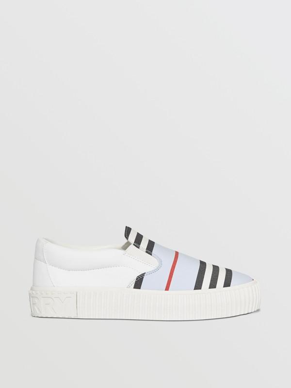 Icon Stripe Cotton Slip-on Sneakers in Pale Blue - Children | Burberry Australia - cell image 3