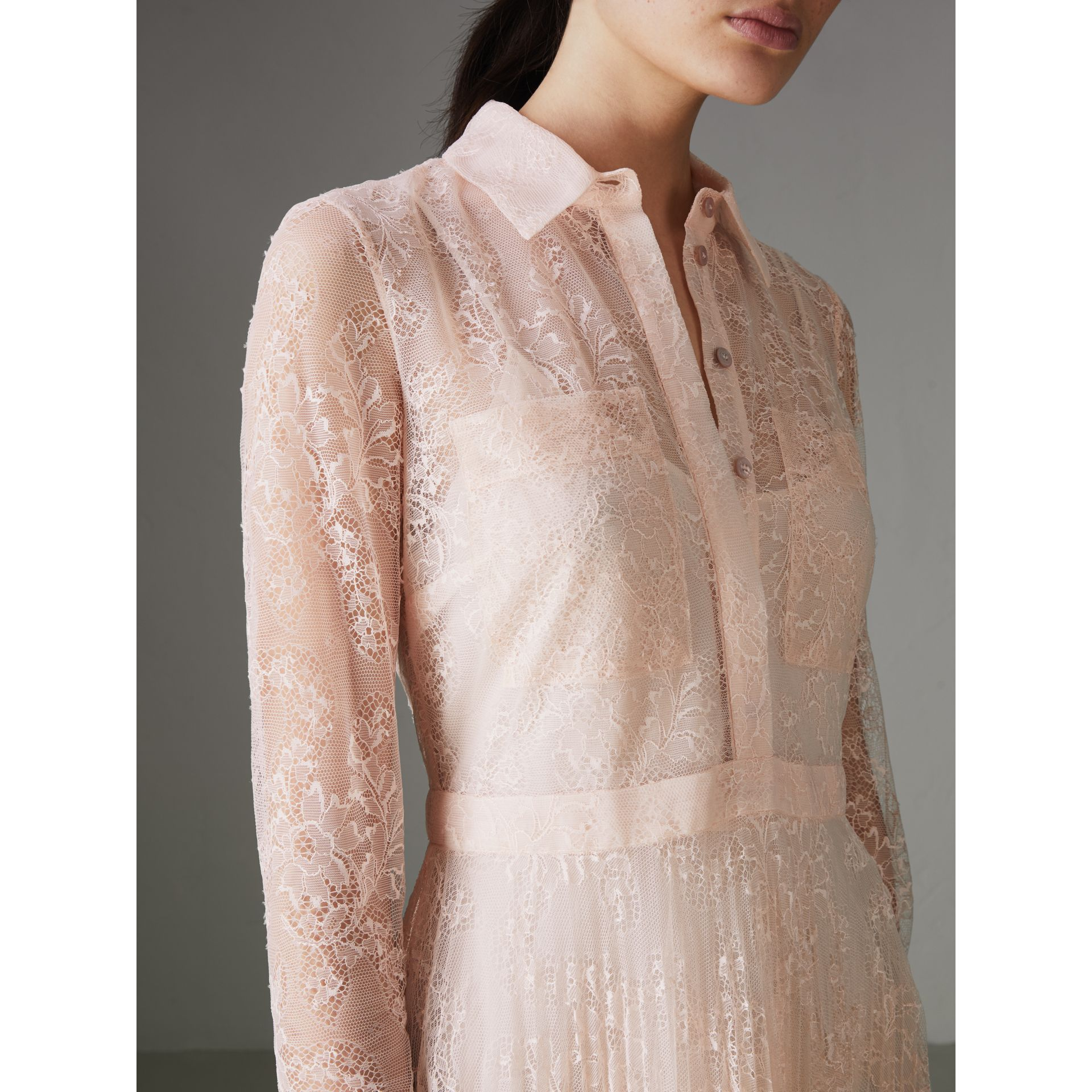 Pleated Lace Dress in Powder Pink - Women | Burberry - gallery image 1