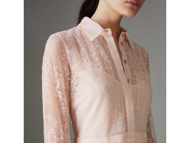 Pleated Lace Dress in Powder Pink - Women | Burberry - cell image 1