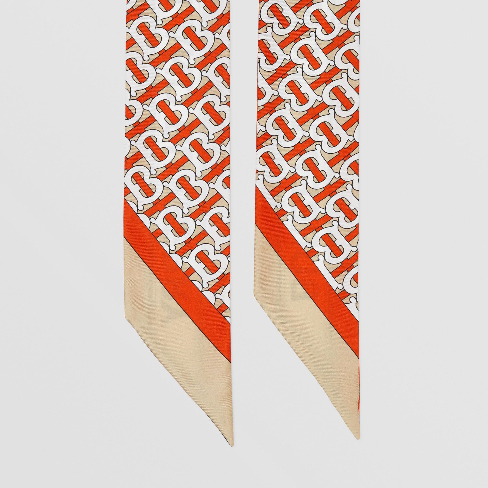 Monogram and Logo Print Silk Skinny Scarf in Vermilion | Burberry United Kingdom - gallery image 2