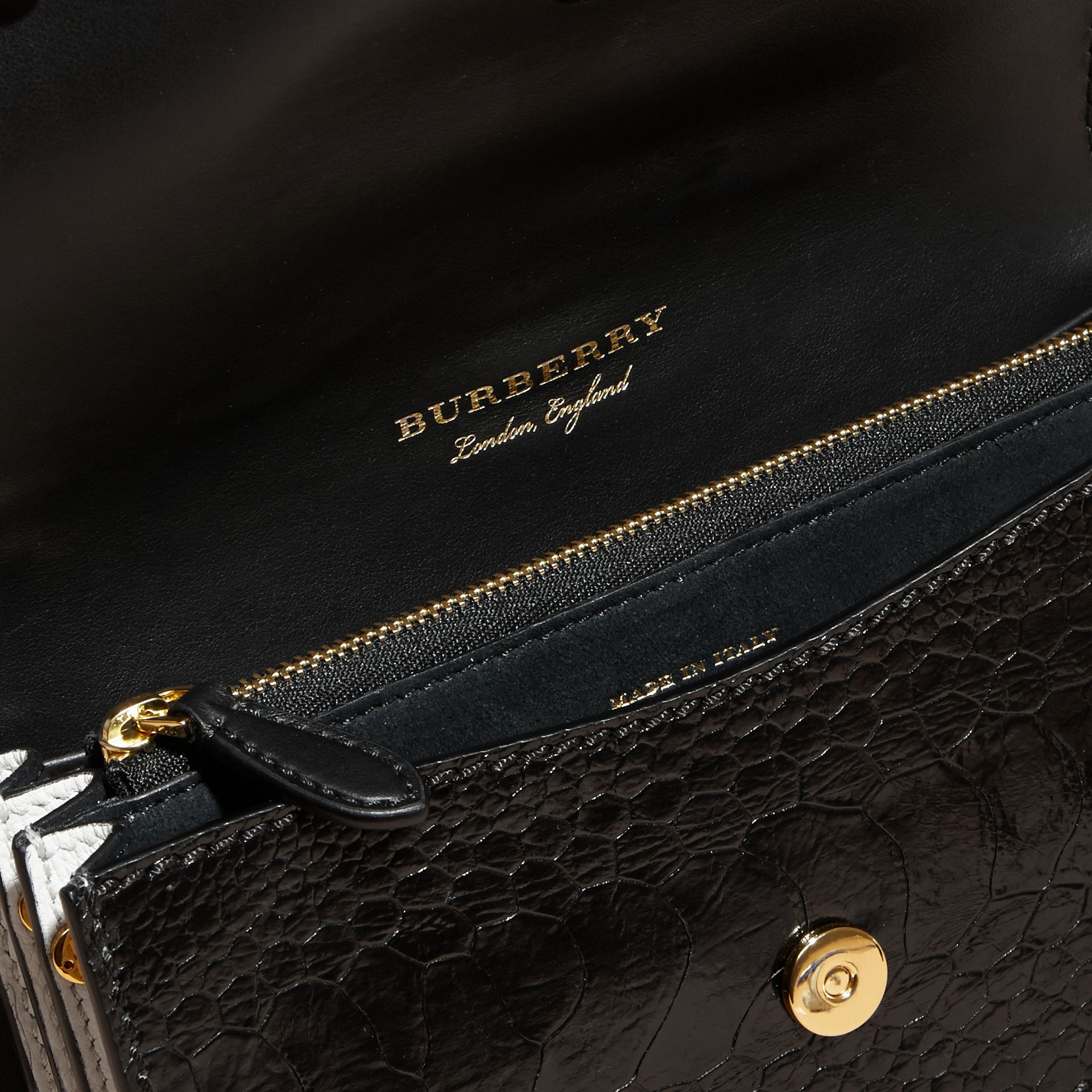 The Small Buckle Bag in Leather and Snakeskin Appliqué in Black/white - Women | Burberry - gallery image 6
