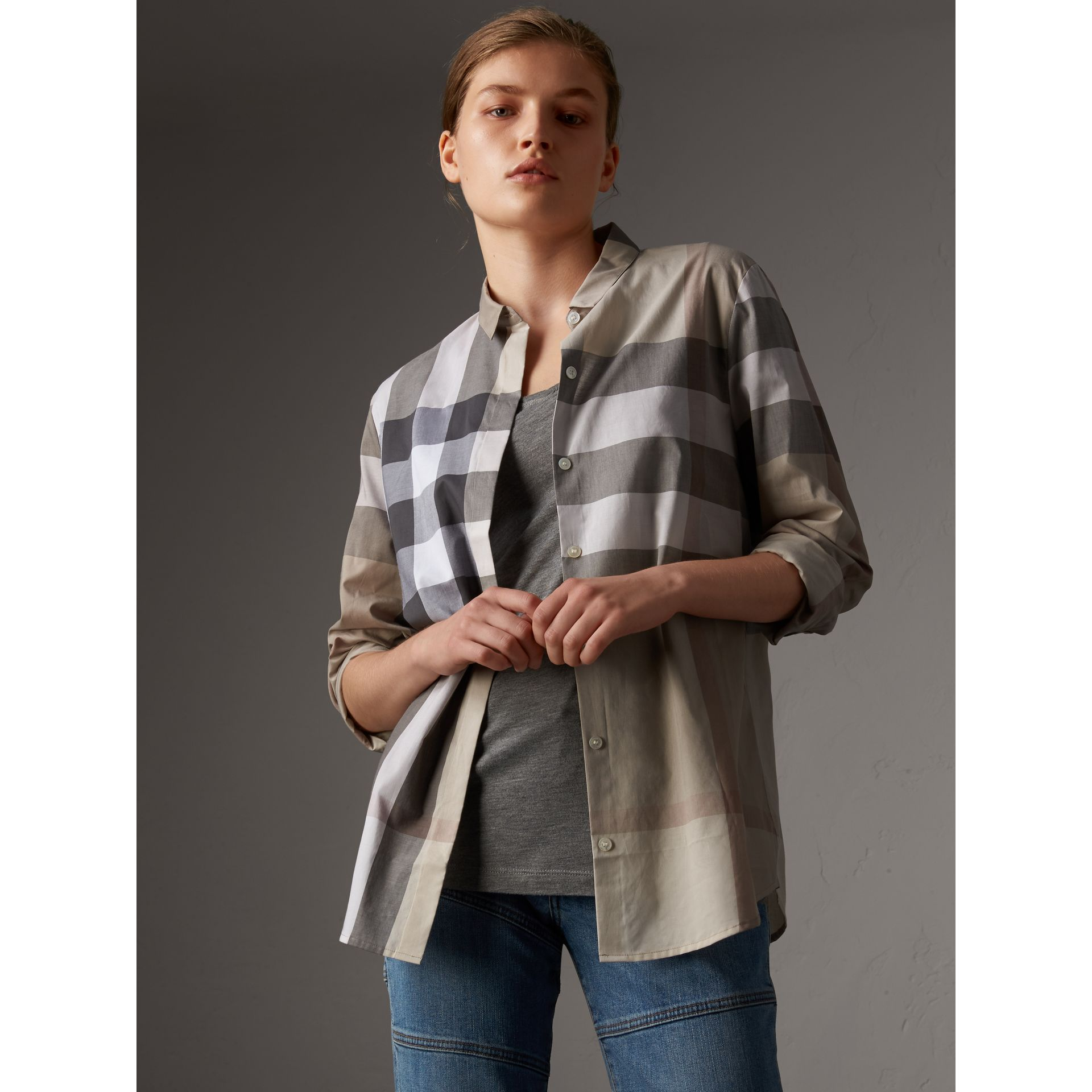 Check Cotton Shirt in Pale Stone - Women | Burberry - gallery image 0
