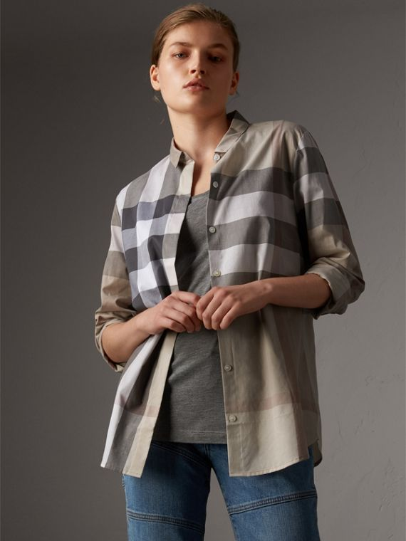 Check Cotton Shirt in Pale Stone