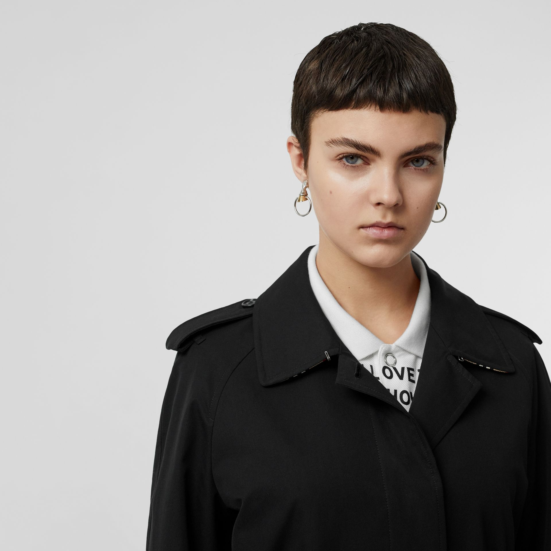Tropical Gabardine Belted Car Coat in Black - Women | Burberry United States - gallery image 1
