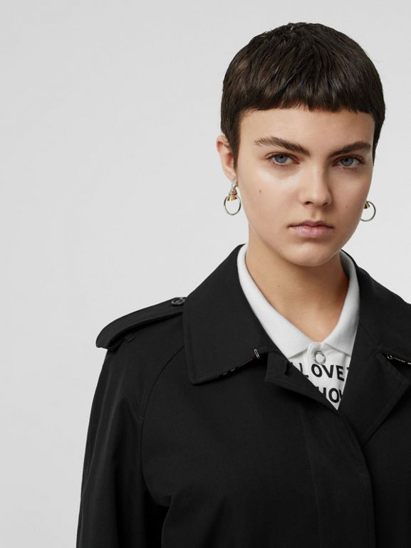 Tropical Gabardine Belted Car Coat in Black - Women | Burberry United States - cell image 1