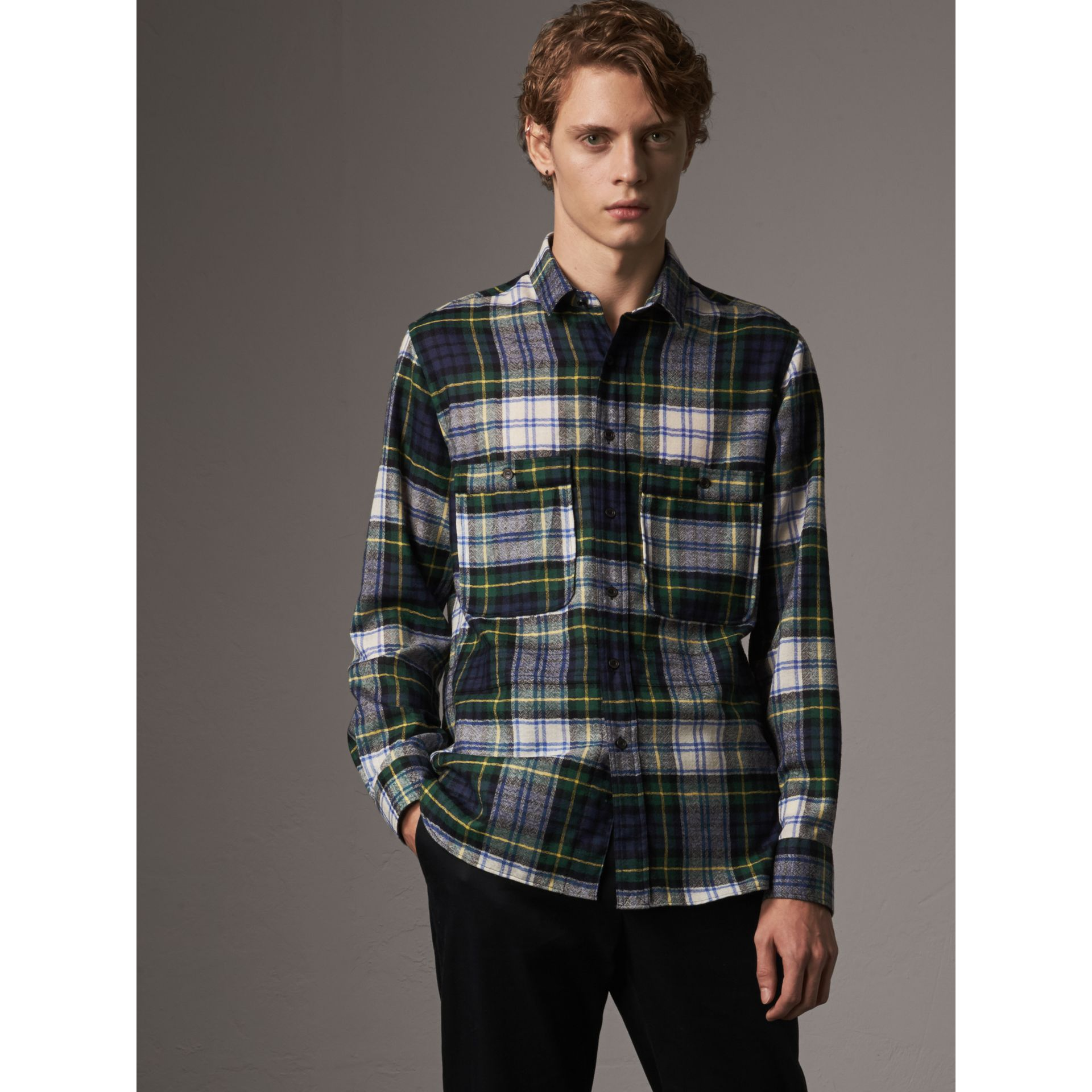 Tartan Wool Shirt in Ink Blue - Men | Burberry - gallery image 0