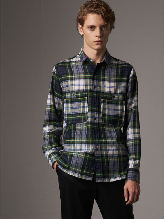 Tartan Wool Shirt in Ink Blue