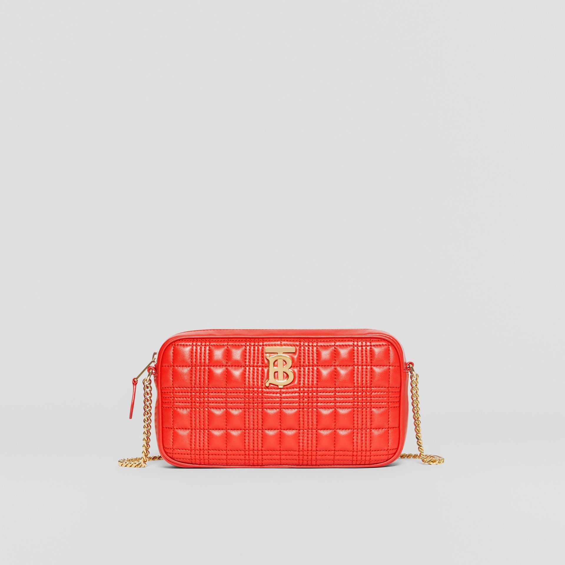 Quilted Check Lambskin Camera Bag in Bright Red - Women | Burberry Australia - gallery image 0