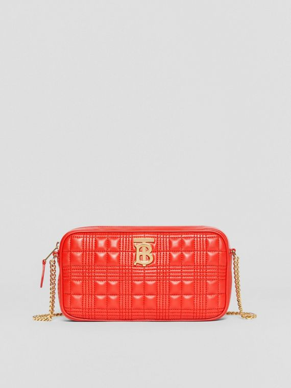 Quilted Check Lambskin Camera Bag in Bright Red