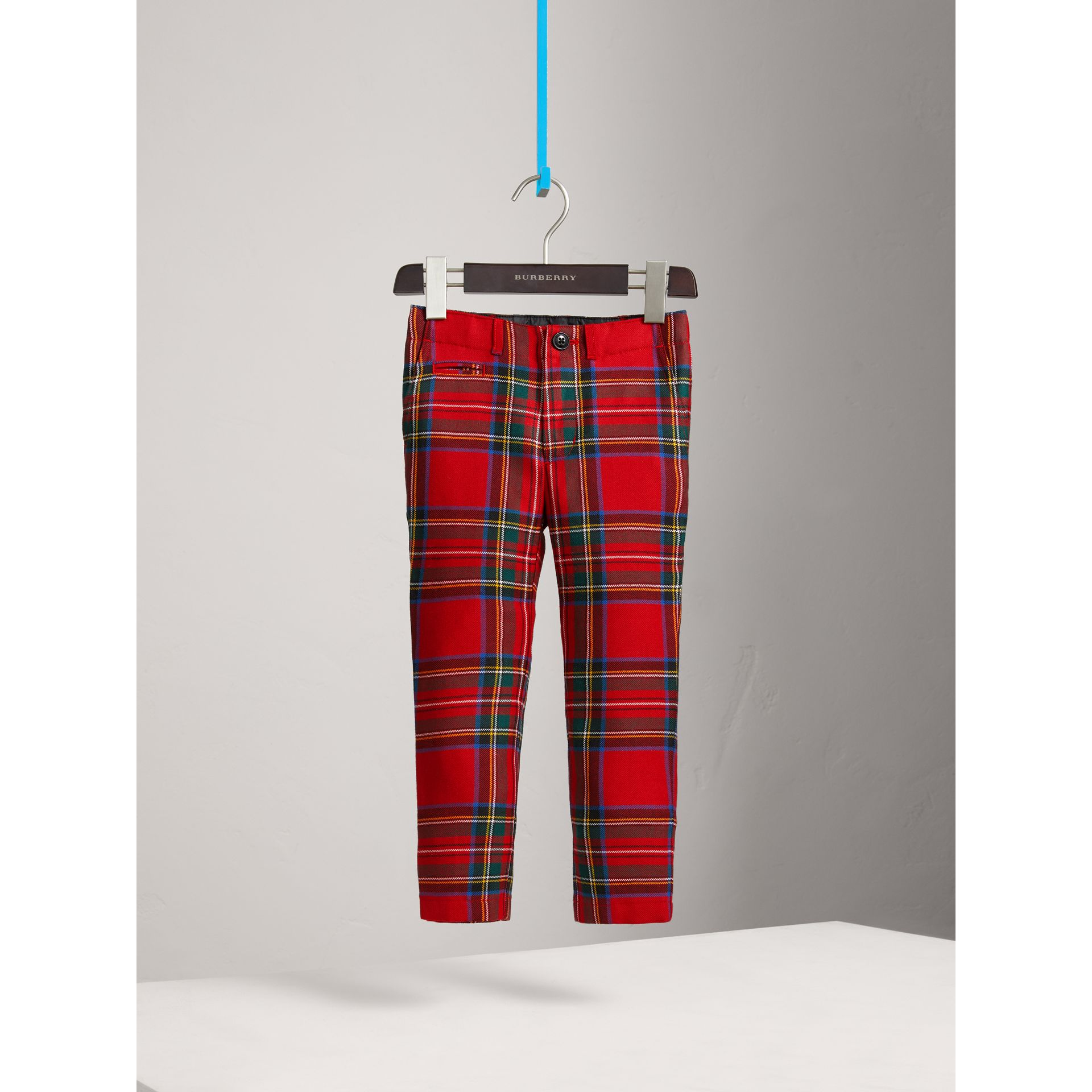 Tartan Wool Trousers in Bright Red - Boy | Burberry - gallery image 3