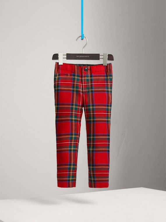 Tartan Wool Trousers in Bright Red | Burberry - cell image 2