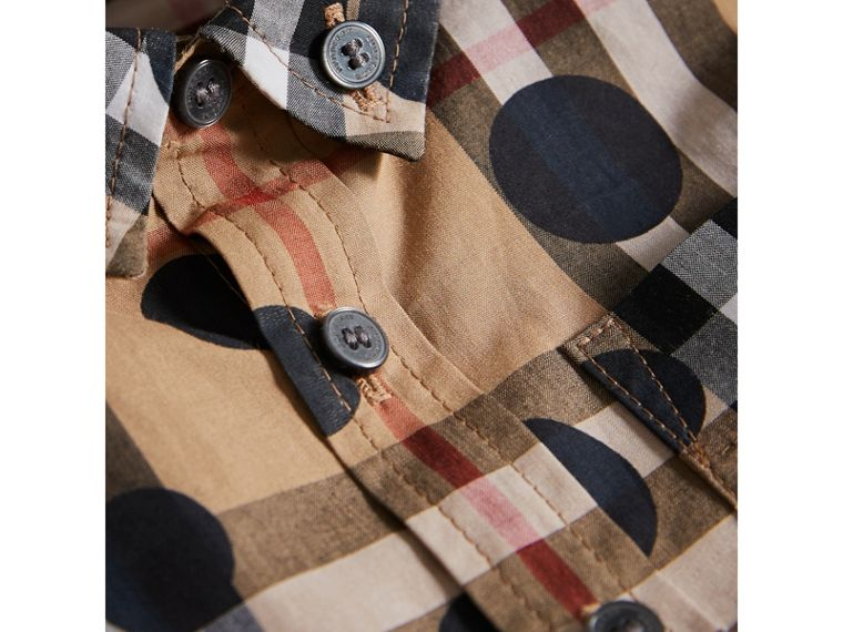 Polka-dot Check Cotton Shirt in Navy | Burberry - cell image 1