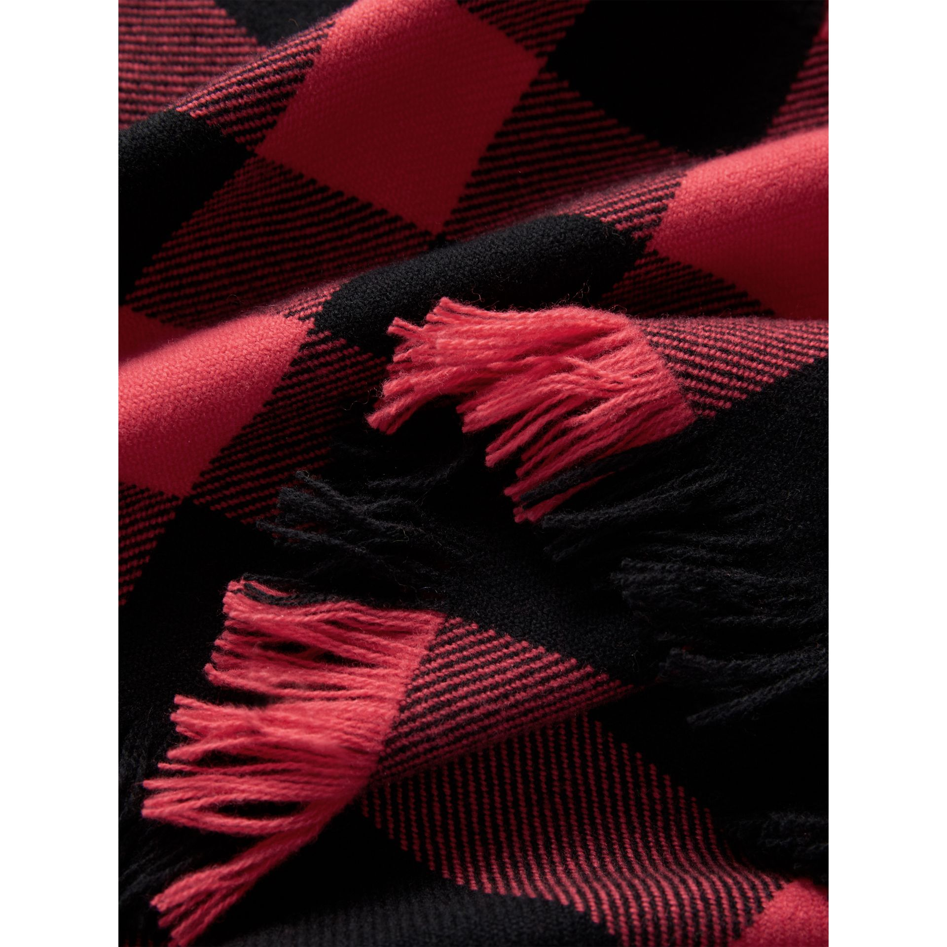 Fringed Check Wool Scarf in Bright Coral | Burberry United Kingdom - gallery image 1
