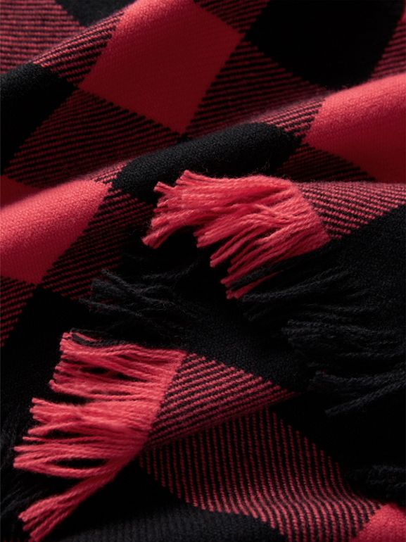 Fringed Check Wool Scarf in Bright Coral | Burberry - cell image 1