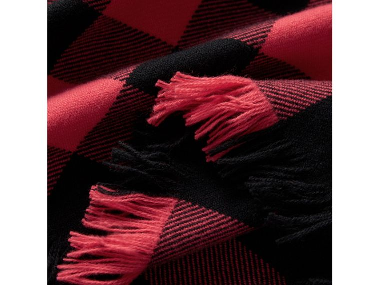Fringed Check Wool Scarf in Bright Coral | Burberry United Kingdom - cell image 1