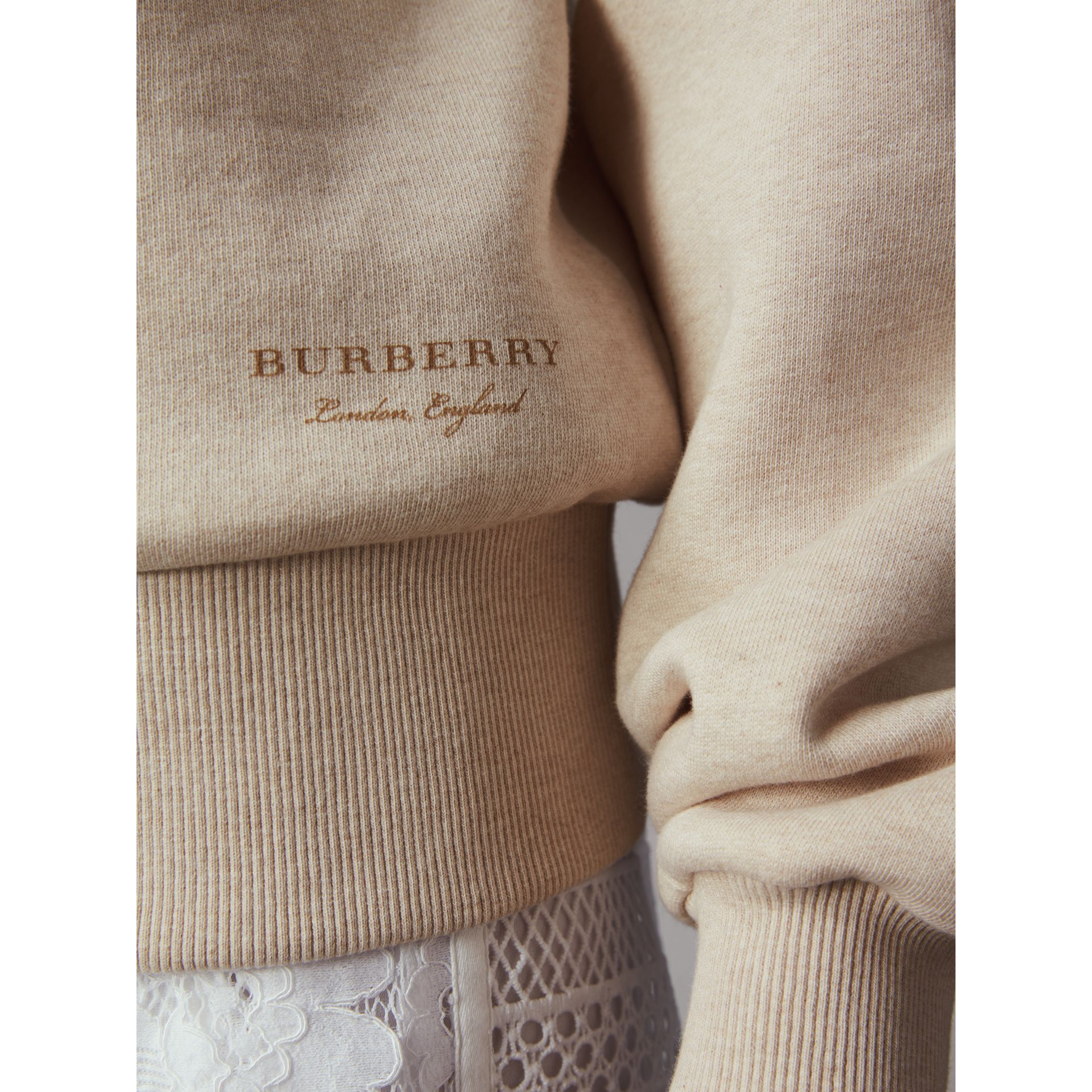 Off-the-shoulder Sweatshirt in Oatmeal Melange - Women | Burberry Hong Kong - gallery image 2