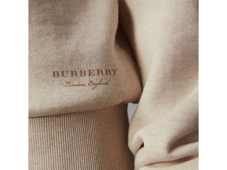 Off-the-shoulder Sweatshirt in Oatmeal Melange - Women | Burberry Hong Kong - cell image 1