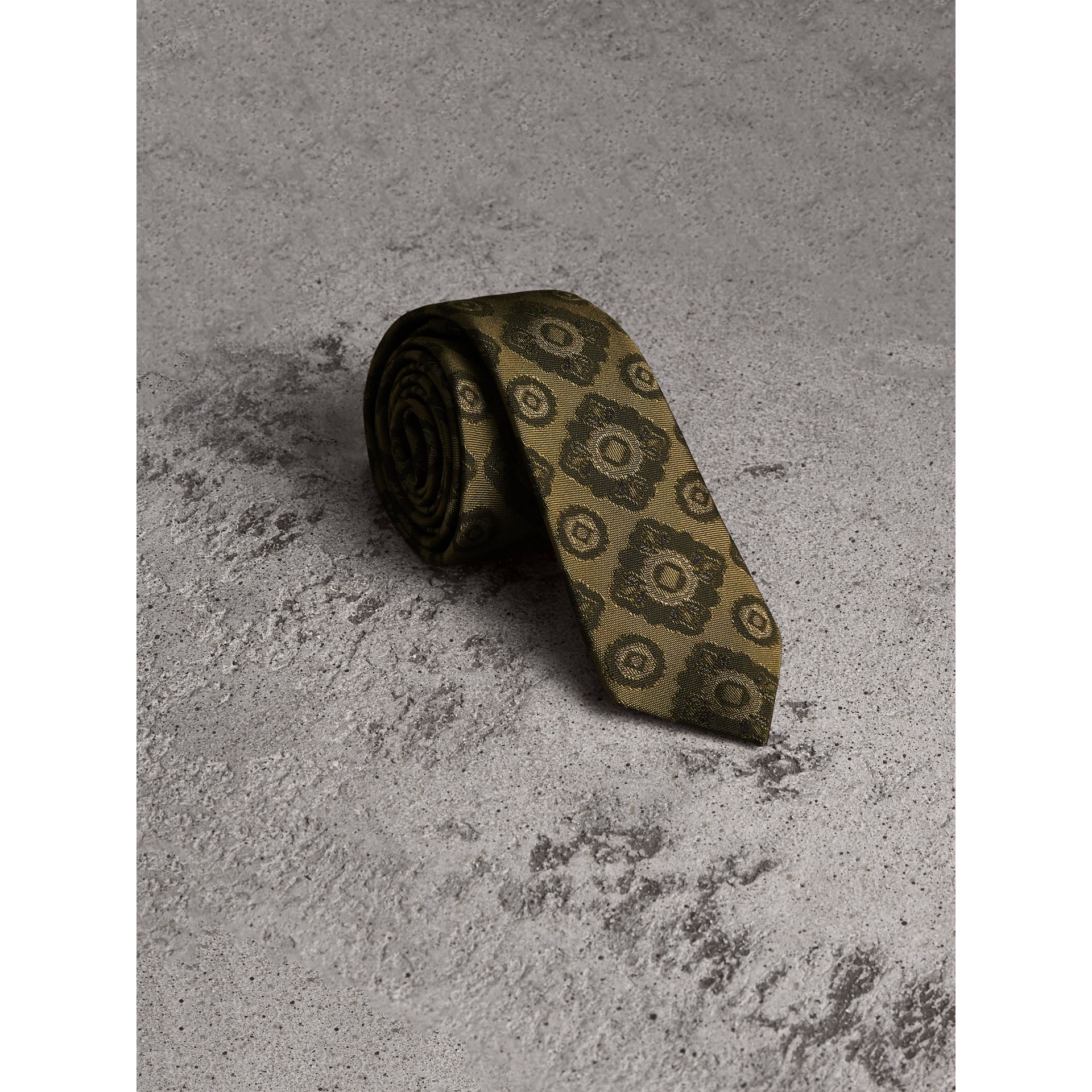 Slim Cut Tiled Floral Silk Jacquard Tie in Military Green - Men | Burberry - gallery image 1