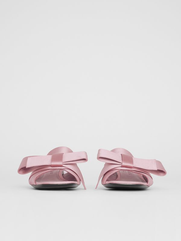 Bow Detail Satin Block-heel Mules in Light Pink Melange - Women | Burberry Australia - cell image 3