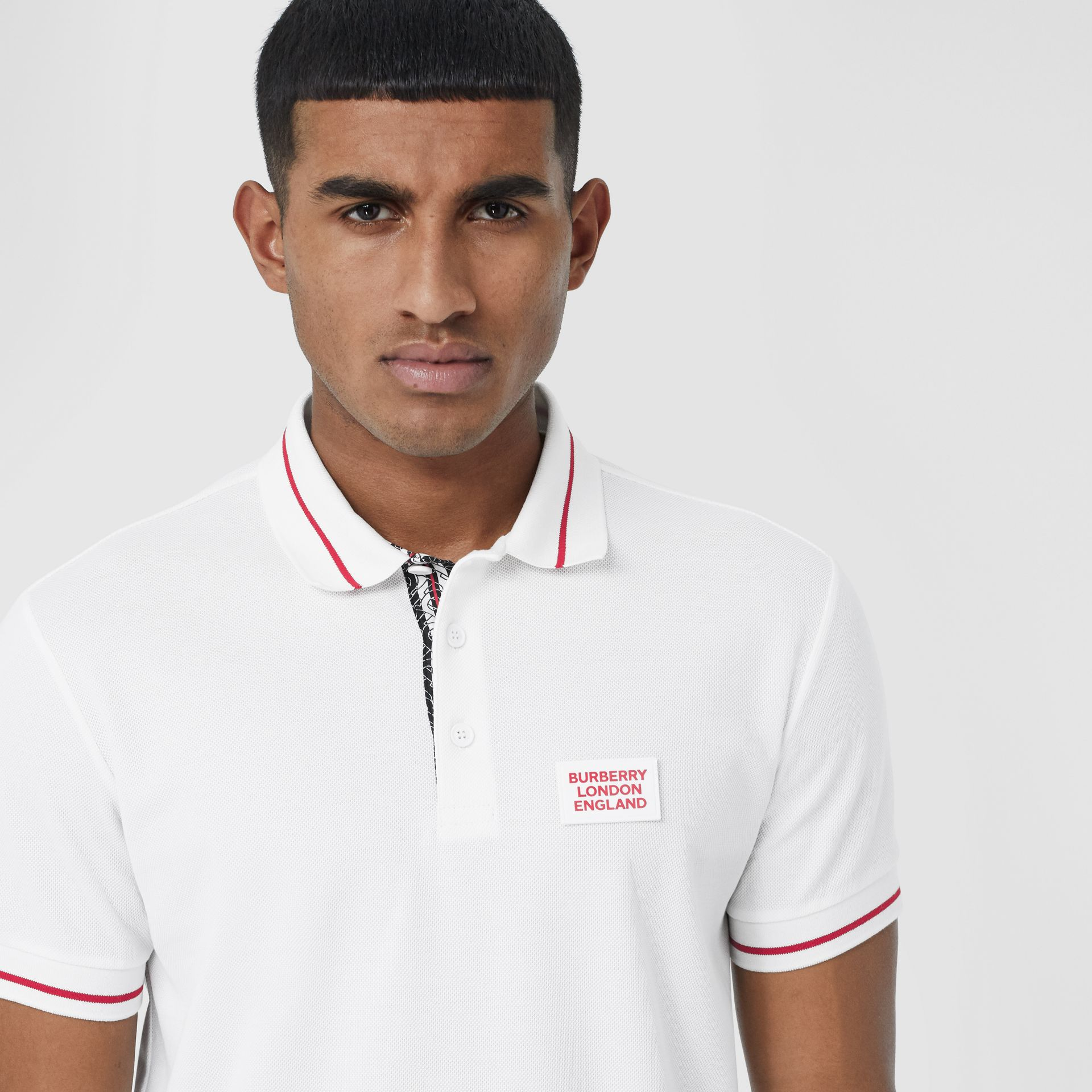 Logo Appliqué Cotton Piqué Polo Shirt in White - Men | Burberry - gallery image 1