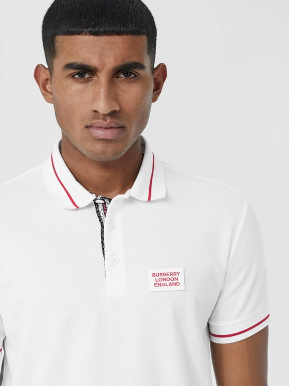 Logo Appliqué Cotton Piqué Polo Shirt in White - Men | Burberry - cell image 1