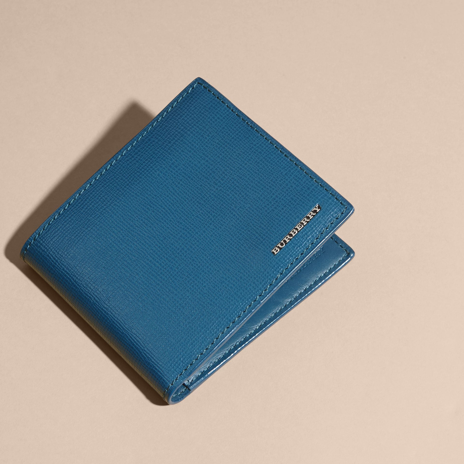 London Leather Folding Wallet Mineral Blue - gallery image 7